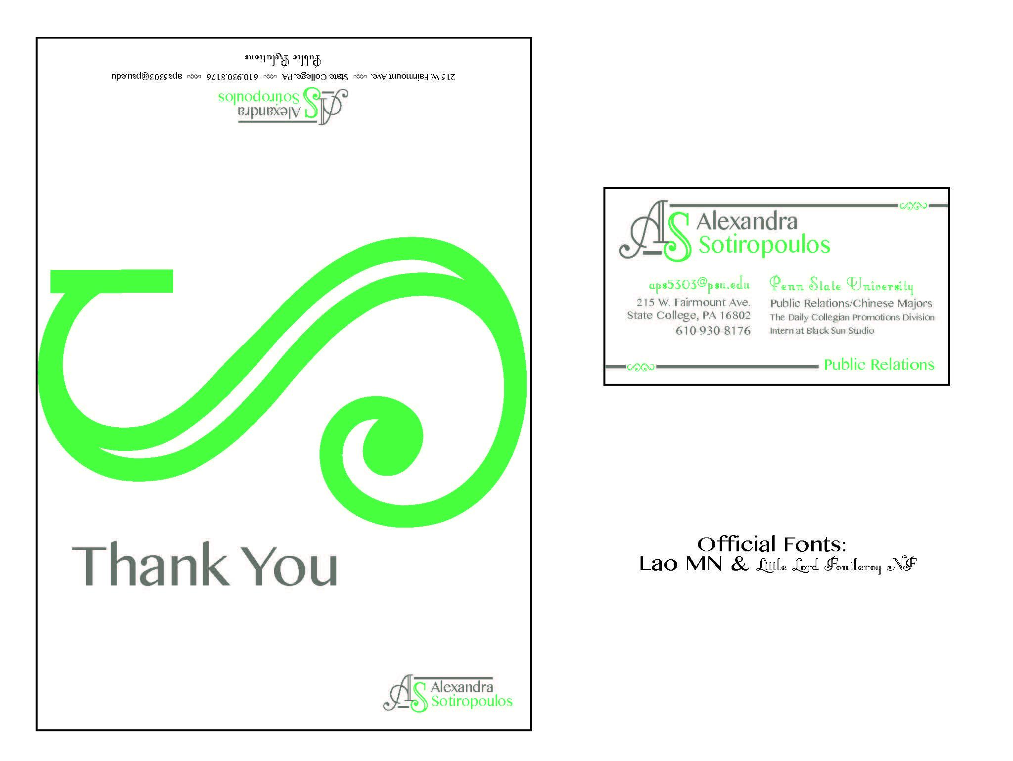 Portfolio thank you card business card colourmoves